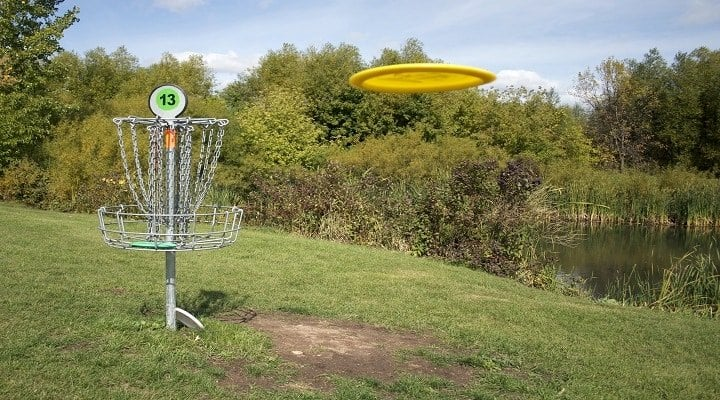 A frisbee golf target with discs